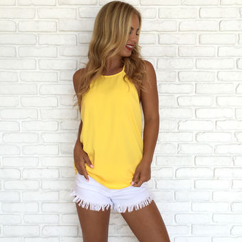 Harmony Ruffle Back Blouse In Yellow