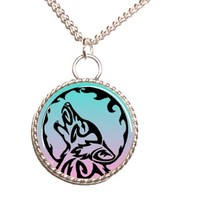Tribal Wolf Pendant Necklace