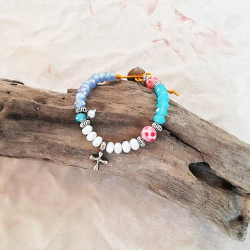 White blue bracelet, beaded bracelet with a silver cross charm, colourful, beaded cuff, girls and teens friendship bracelet, boho bracelet
