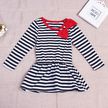 New Cotton Baby Girl Long Sleeve Striped Bow knot Dress Kids One-Piece Dress