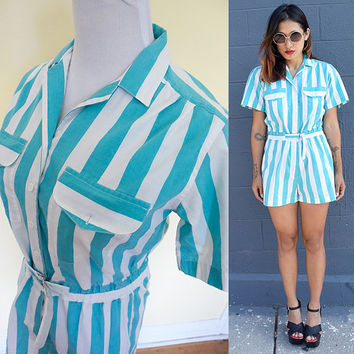 Vintage romper jumpsuit stripe white green playsuit button up mini short