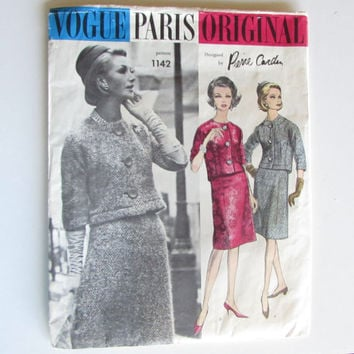 Pierre Cardin Suit Vogue Paris Original 1142 Sewing Pattern Incomplete Size 10 Bust 31 Hip 33 Vintage 1960