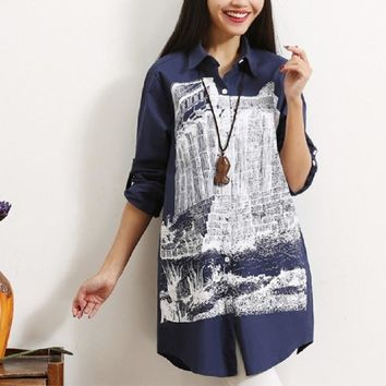 New spring/autumn women's shirts cotton and linen print maternity shirts