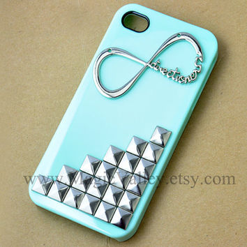 Iphone 5 Case, One Direction infinity Iphone 5 Case, Studded Minit Green Hard Iphone 5 Case Cover