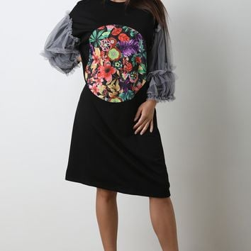 Floral Graphic Mesh Puff Sleeves Shift Dress