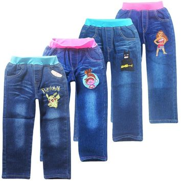 Jeans For Kids 2018 New  Fashion  Pant Baby Boys girls Trousers For Autumn Spring Children trolls moana long Jean PantsKawaii Pokemon go  AT_89_9