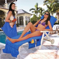 Quick Dry Microfiber Poolside Lounge Chair Towel Cover