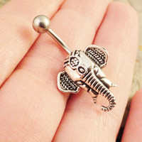 Silver Indian Elephant Belly Button Ring