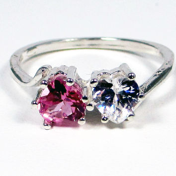 White Topaz Pink Sapphire Double Heart Sterling Silver Ring