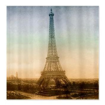 The Eiffel Tower In Paris Shower Curtain> The Eiffel tower in Paris> Vintage Love