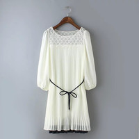 White Lace Pleated Bishop Sleeve Tie-Waist Dress