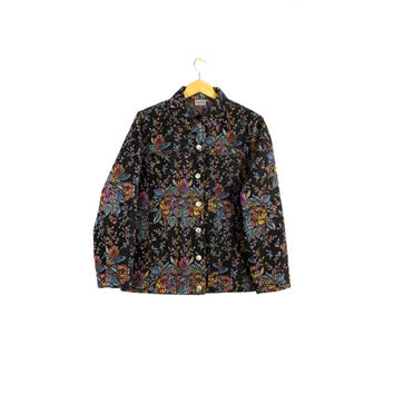 floral woven tapestry jacket - black + rainbow - multicolor - flowers - unisex