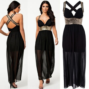 Black Chiffon Evening Cocktail Party Dress Blingbling Paillette Clubwear = 1905681604