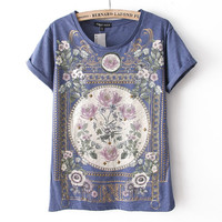 Rivet Vintage Floral Print T-shirt For Summer