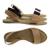 Bliss60 Tan By Bamboo, Foam Padded Flat Open Toe Slip On Sandal w Elastic Sling Back Straps
