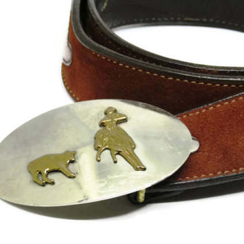 Vintage Belt and Buckle | Rodeo Trophy Belt Buckle With Bull and Cowboy |  Two Tone Nickle Silver Western Buckle | Suede and Leather Belt