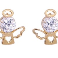 Encounter Gold Plated Angel With Wings Round Swarovski Element Crystal Earrings Studs