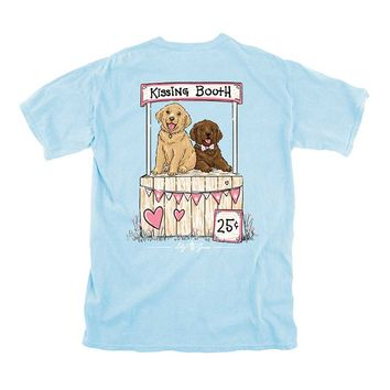 Lily Grace Puppies Kissing Booth Short Sleeve T-shirt in Chambray 12213