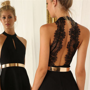 Women's Summer Style Halter Neck Backless Lace Sexy Party Dress