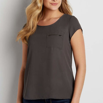 the perfect short sleeved blouse with zipper pocket | maurices