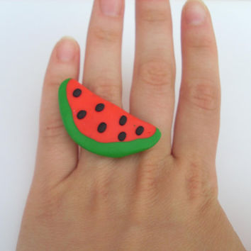 Watermelon ring (polymer clay) summer colorful