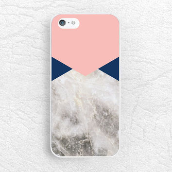 Geometric Marble print Phone Case for iPhone, Sony z3 compact, LG g3 Nexus 5, HTC one M8 M9, Moto x X2 Moto g G2, Navy Coral pink case -X11
