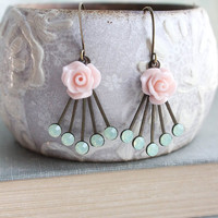 Rose Earrings Pale Pink Blush Floral Dangle Aqua Mint Chrysolite Opal Vintage Art Deco Style Romantic Bridal Jewellery Bridesmaids Gift