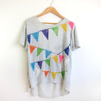 Triangle Bunting Banner HAND STENCILED Deep Scoop Back Hi Lo Heather Burnout Tee in Ash Grey Multi Rainbow - S M L XL