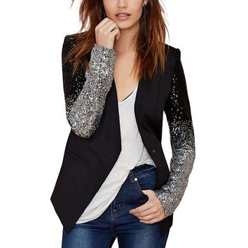 Women's Edgy Professional Black Work Blazer Jacket W/ Silver Sequin
