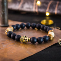 Matte black onyx & brown jasper stone beaded stretchy bracelet with gold Buddha, made to order yoga bracelet, mens bracelet, womens bracelet
