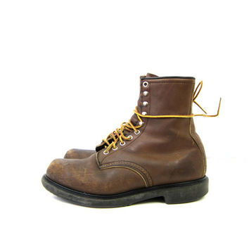 vintage tall brown leather Red Wing work boots Lace Up Construction Worker Boots men's Shoes Size 9.5