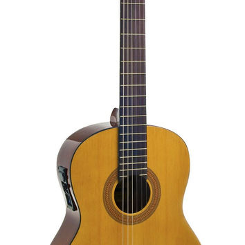 Hohner A+ Full Size Nylon String Acoustic Guitar w/Built-In Pickups, Natural AC06E