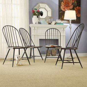 HomeVance Grayson 4-piece Dining Chair Set (Black)