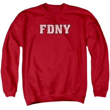 FDNY Sweatshirt New York Fire Dept Logo Red Pullover