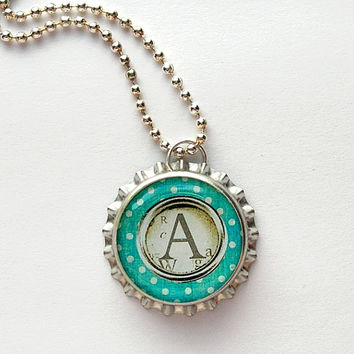 Teal Typewriter Key Monogram Bottle Cap Necklace - monogram gifts, monogram necklace, letter necklace, monogram jewelry, initial necklace