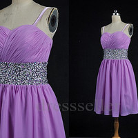Custom Lilac Beaded Short Chiffon Prom Dress Hot Homecoming Dress Bridesmaid Dress Short Evening Dress Party Gown Wedding Party Dress