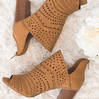 Oklahoma Cutout Detail Open Toe Heel Bootie (Tan)