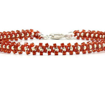 Red Layering Bracelet Beaded Bracelet Seed Bead Jewelry Daisy Chain Bracelet
