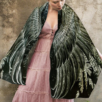 Black Modal Women scarf, Hand painted Wings and feathers, stunning unique and useful, perfect gift