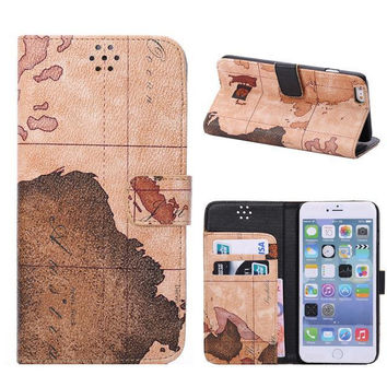 Brown World Map Leather Wallet iPhone creative cases for 5S 6 6S Plus Free Shipping