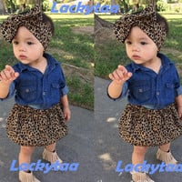 Lackytaa 1-5 years children kids girls clothing sets summer for girls baby girls outfits 3 pieces shirt + skirts + Headband