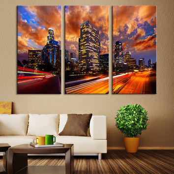 Wall Art Canvas Print Los Angeles Sunset - Los Angeles Night City Lights Canvas Art - Los Angeles Sunset on Towers Canvas Print