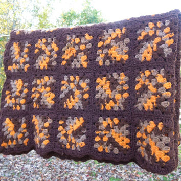 "Halloween decor - Vintage crochet afghan throw blanket in orange brown tan granny squares - Fall autumn decor 57"" x 48"""
