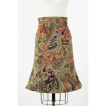 Heidi - Highwaisted Trumpet Skirt with Panels Cotton Lycra Corduroy
