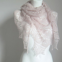 Mother Day gift - lace shawl evening wrap silk and alpaca pink hand knitted lacy design