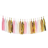Pink White Beige Gold Tassel Garland Banner Party Decoration Wedding Baby