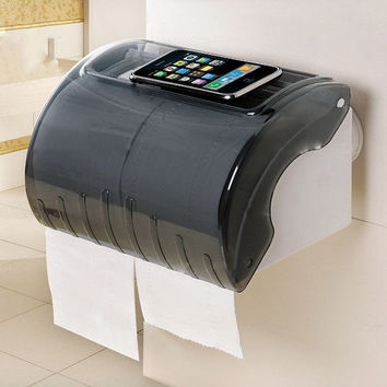 Super Strong Vacuum Sucker Waterproof Toilet Bathroom Plastic Tissue Boxes Roll Holder Heet Paper Can Be Moved Repeatedly