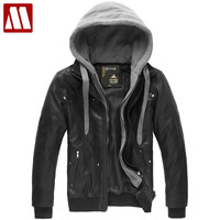 Hooded Collar Men's Casual Jackets Leather Coat