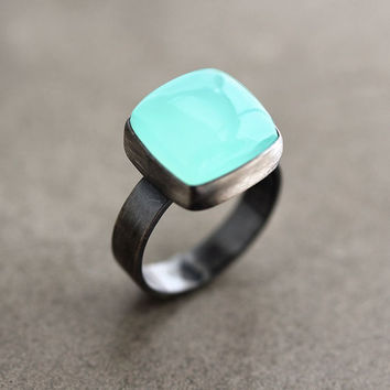 Aqua Chalcedony Ring Seafoam Blue Green Chalcedony by TheSlyFox