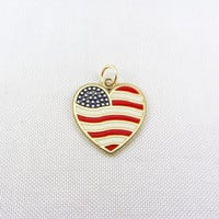 Vintage 14K Gold Enamel Heart Flag Charm Pendant Yellow Gold God Bless America Patriotic Fine Jewelry